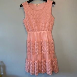 Ya Los Angeles Pink Textured Frilly Dress M